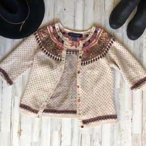 French Connection Cream Brown Embellished Cardigan